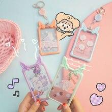 Tarjetero retráctil transparente para mujer, funda de Tarjeta De Nombre para estudiantes, bonito conejo, oso, insignia escolar, porta tarjetas de identificación