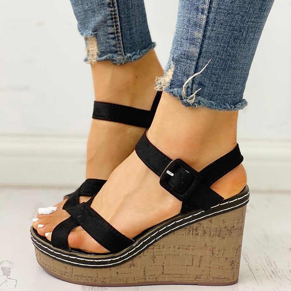 SARAIRIS Baru Sepatu Hak Tinggi Wanita Platform Ankle Tali Leisure Musim Panas Wedges Sandal Wanita Sepatu