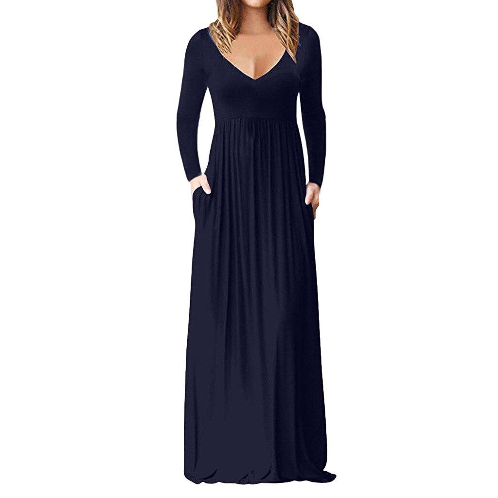 Feitong Plus Size Party Elegant Dress Women's Casual Long Sleeve V-neck High Waist Sundress Solid Maxi Tank Sexy Long Dress