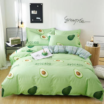 3/4pcs green Avocado Printed pure cotton Bed Linen Set Bed Set Quilt Cover Bed Sheets Single Double Queen King Size Bedding Set cotton quilt cover pillowcase student dormitory bed 3pcs set 0 9m 1m 1 2m bunk bed single bed cotton bed linen quilt cover set
