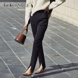 TWOTWINSTYLE عادية كامل طول بانت النساء عالية الخصر مطوي سليم سبليت سروال شكل قلم رصاص للإناث الملابس 2020 ربيع موضة جديدة