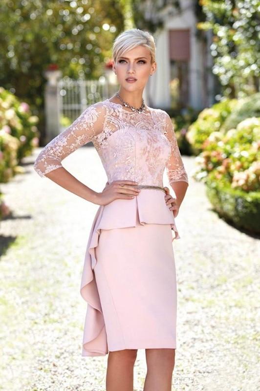 Pink Mother Of The Bride Dresses Sheath Half Sleeves Knee Length Appliques Plus Size Short Groom Mother Dresses For Wedding