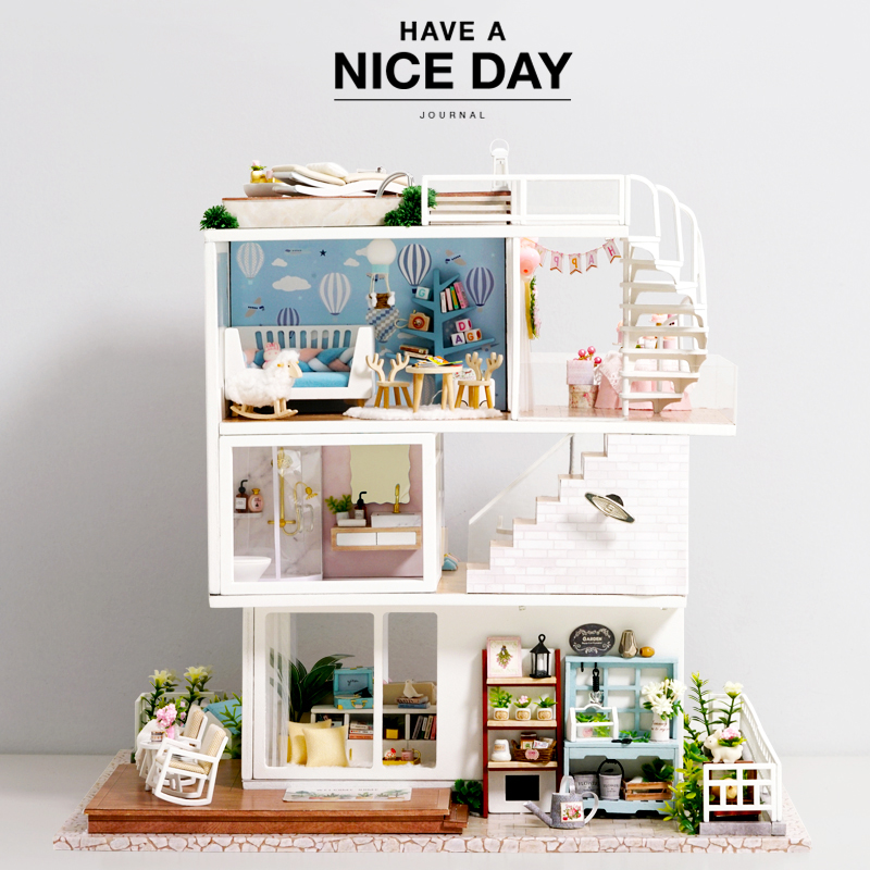 Doll House DIY Miniature With Wooden Furniture Assemble DollHouse Kit With Dust Cover Doll Home Toys For Adult Christmas Gift