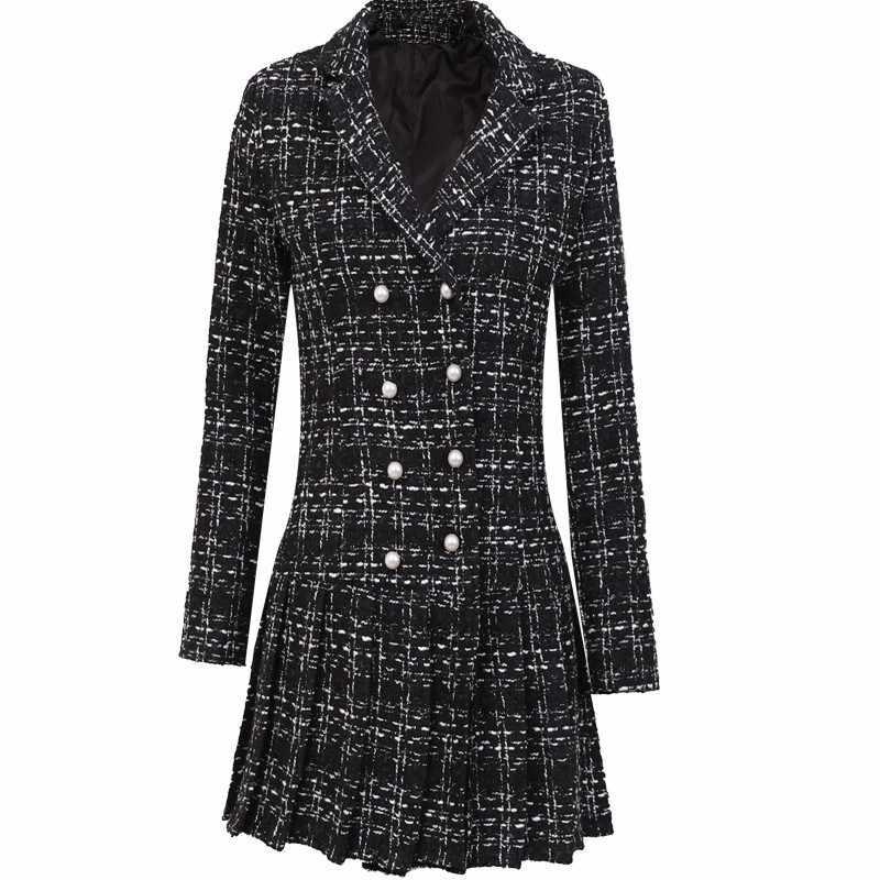 High Street Delle Donne di Autunno della Molla Plaid Tweed del Vestito Doppio Petto In Rilievo Mini Vestiti Delle Signore Club Del Partito di Ufficio Caldo Delle Donne del Vestito
