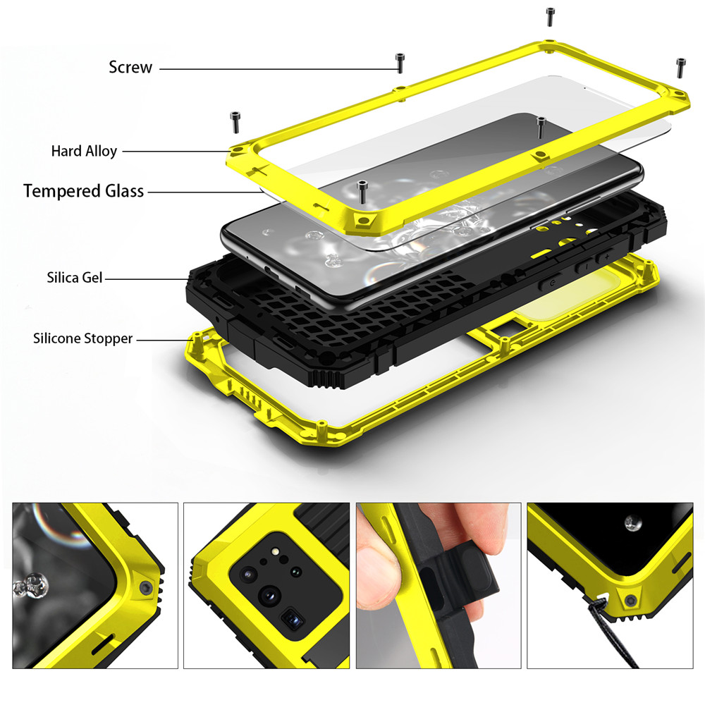 Waterproof IP68 Diving Holder Case For Samsung S20 Ultra Cover Metal Hybrid Armor Shockproof Stand Cases for Samsung S20 Plus