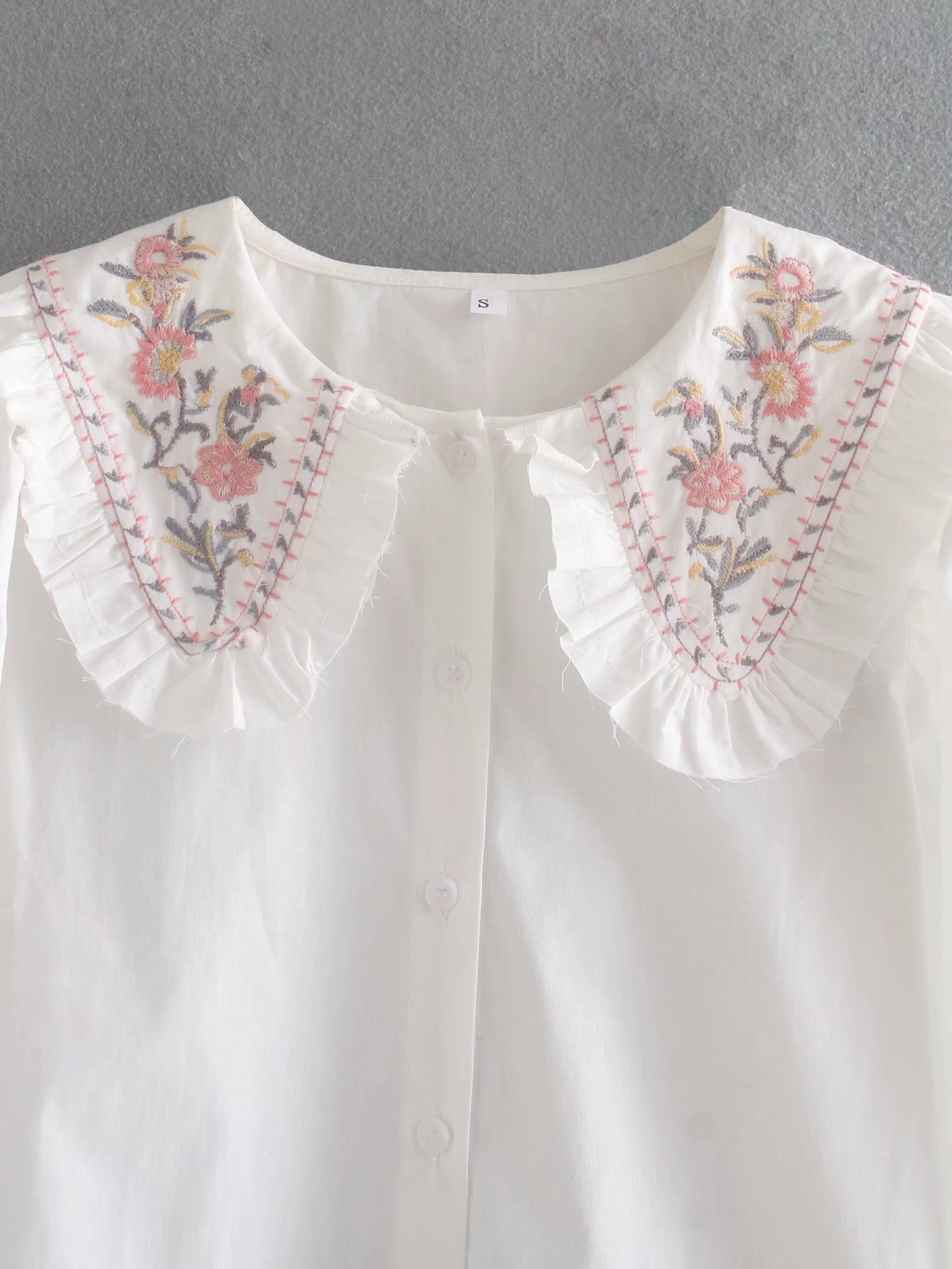 Toppies womens white blouses tops bohemian embroidery tops turn collar cute cotton shirts