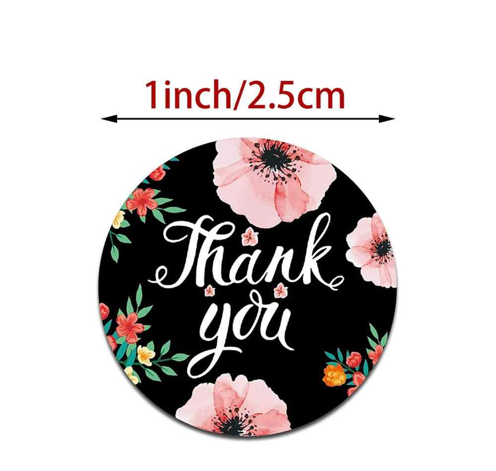 500Pcs//roll Round Floral Thank You Stickers Wedding Decor Seals Labels