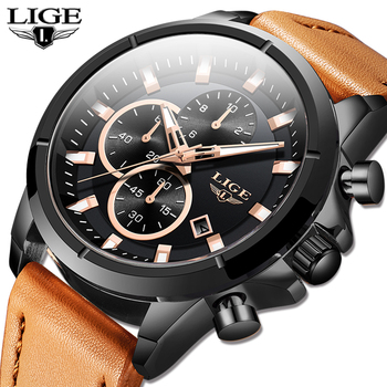 2020 LIGE Top Brand Men Watches Fashion Sport Leather Watch Mens Luxury Date Waterproof Quartz Chronograph Relogio Masculino+Box hot sales mens watches date sport quartz analog wrist watch military leather top brand dqg luxury fashion men relogio masculino