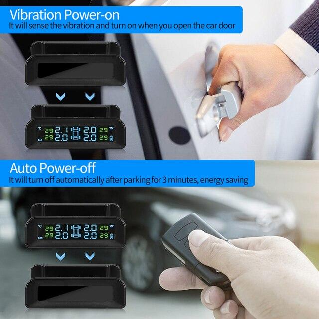 Visture Solar TPMS alarm ciśnienia w oponie w samochodzie monitor systemu opona monitorowanie ciśnienia ostrzeżenie Q01W Q01N D02N Pro