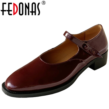 FEDONAS  Velvet Concise Women Cow Patent Leather Mary Janes Shoes 2020 Spring Round Toe Low Heel Buckle Strap Casual Shoes Woman