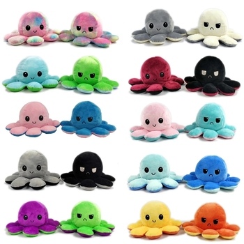 Kids Soft Gift Octopus Plush Animals Children Double-Sided Flip Doll Soft Octopus Reversibl Plush Toys peluches toys image