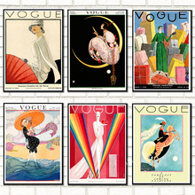 Vogues Lady Vintage Posters Art Paintings Retro Wall Pictures Fashion Woman Riding On The Moon Print Wall Home Room Decoration