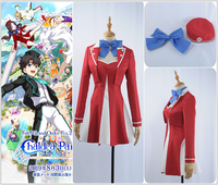 Game Fate/Grand Order Chaldea Park Leonardo da Vinci Cosplay Costume Custom Sexy Girl Sreapless Dress Red Coat With Hat Bow Tie