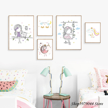 Girls Wall Art Nordic Cartoon Poster Baby Canvas Nursery Prints Pictures Watercolor Girl Decoration