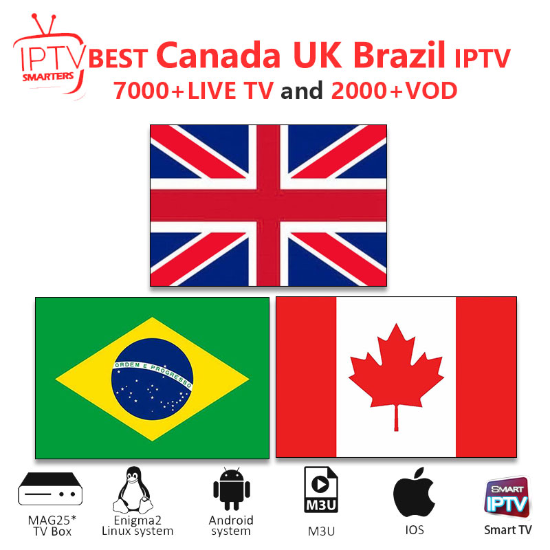 UK IPTV M3U IPTV 7000+ Live Channels For M3u Mag Box Smart Tv Canada Iptv Brazil Iptv M3U Code Sports Adults Free Test