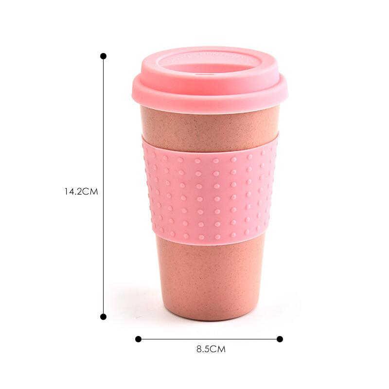 Ramah Lingkungan Cokelat Kehitaman Teh Cangkir Jerami Gandum Perjalanan Air Minum Mug dengan Silikon Tutup Minum Mug