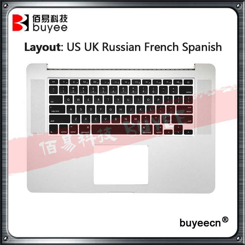 Originele A1398 Palmrest Topcase Voor Macbook Pro Retina 15.4 ''A1398 Top Case Us Uk Russische Franse Es Toetsenbord Backlight 2015