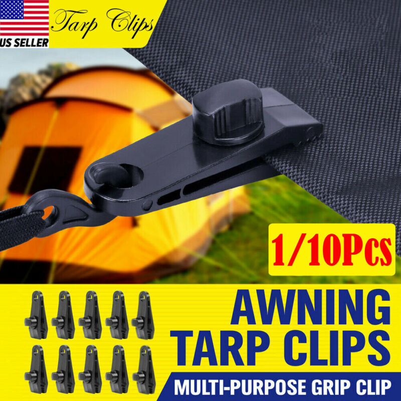 Awning Tarp Clamp Set Plastic Clip Hangers Survival Tent Emergency Grommet 10