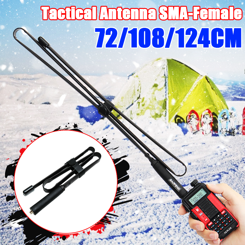 72-124cm SMA-Female Dual Band 144/430Mhz Foldable CS Tactical Antenna For Baofeng UV-82 UV-5R BF-888S Walkie Talkie Ham Radio