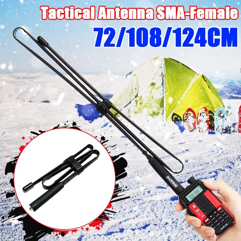 72-124cm SMA-Female Dual Band 144/430Mhz Foldable CS Tactical Antenna For Baofeng UV-82 UV-5R BF-888S Walkie Talkie Ham Radio