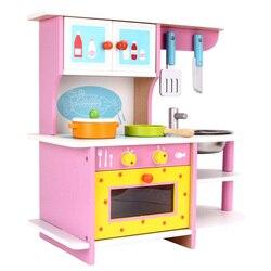 Kinder Holz Frühen Bildung Pädagogisches Spielzeug Simulierten Küche Anzug Girls'birthday Geschenke eltern-kind-Interaktives Spielzeug