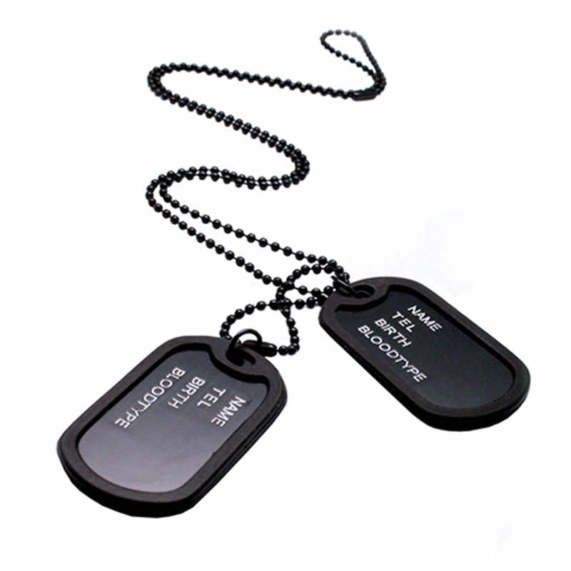 Fashion Military Collares Black 2 Dog Tags Chain Pendants Necklaces Army Style Kolye Necklace Jewelry Christmgift for men Bijoux