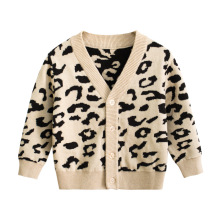 лучшая цена 2019 Autumn Leopard Print Knitted Sweater For Girls V-neck Baby Girl Clothes Boys Sweaters Clothes Kids Sweater Coat For 2-8 Yea