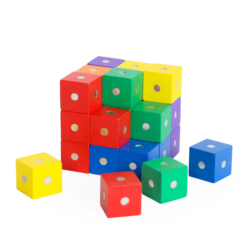 Wooden Cube Blocks Building Blocks Learing Animal Math Toy for Kids Toddler