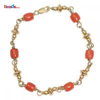 Beadsnice Gold Filled Natural Red Coral Bracelet for Women Dainty Bracelet Gift For Her Wedding Gifts ID39751