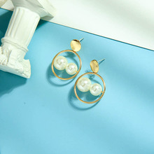 2020 Fashion Earrings for Women Gold Hollow Drop Dangle Earrings Vintage Statement Round Simulated Pearl Earrings Party Jewelry rhinestone pearl earrings for women gold hollow tassel drop statement earrings wedding party fashion jewelry