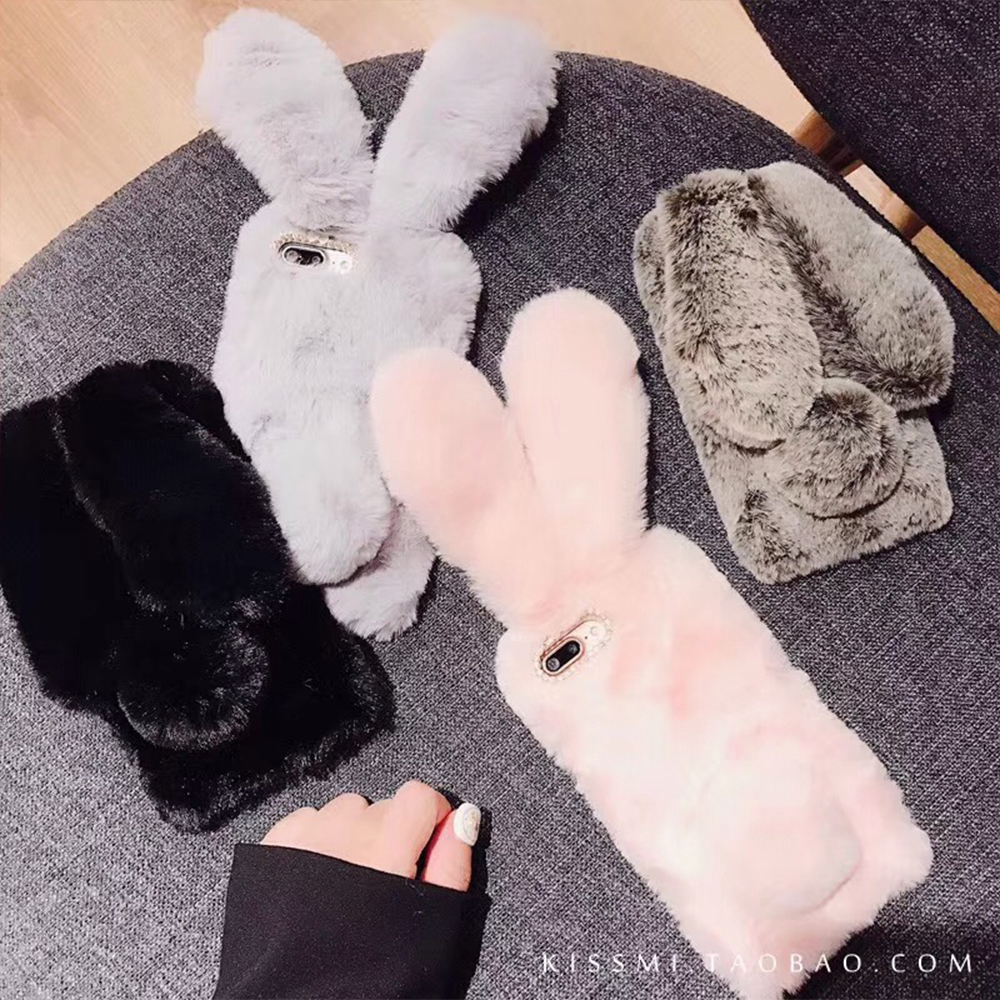 For <font><b>Xiaomi</b></font> <font><b>Redmi</b></font> Note 7 Case Samsung A50 A70 NOTE 10 <font><b>Rabbit</b></font> Hairy Winter Warm Fluffy Fur TPU Case <font><b>Redmi</b></font> Note <font><b>6</b></font> 5 Pro 7 7A mi A3 image