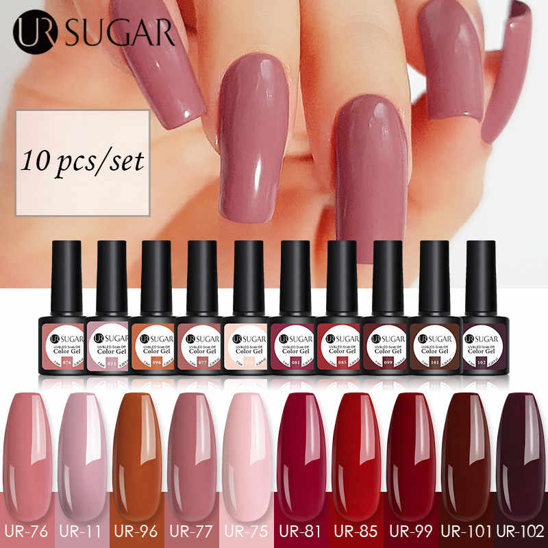 UR Gula 10Pcs Uv Gel Nail Polish Set Semi Permanen Glitter Warna Gel Varnish Rendam Off UV LED Gel varnish DIY