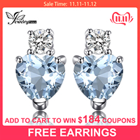 Heart Natural Aquamarine White Topaz Stud Earrings 925 Sterling Silver Earrings For Women Korean Earings Fashion Jewelry 2019