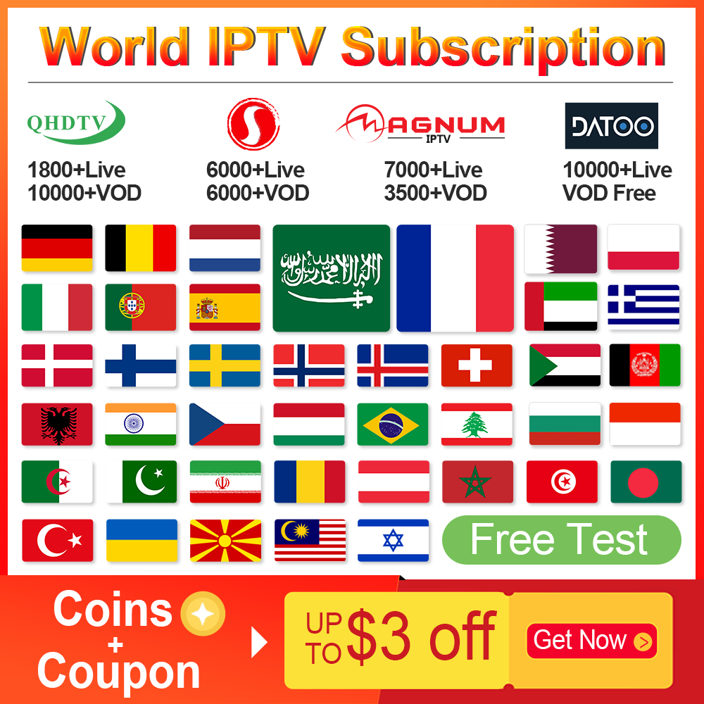 IPTV France QHDTV/Sansat/Datoo IPTV Subscription Android M3u IPTV Arabic German Belgium Spain Portugal Sweden Norway Italy IP TV