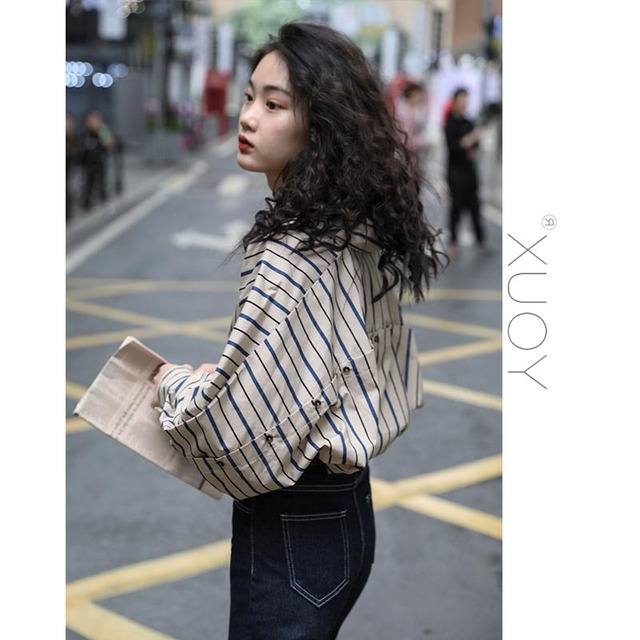 2020 New Blouse Women Casual Striped Top Shirts Blouses Female Loose Blusas Autumn Fall Casual Ladies Office Blouses Top Sexy 1