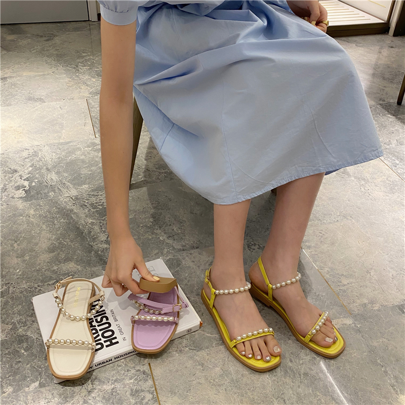 Summer Gladiaror Sandals Women String Bead Flats Shoes Casual Buckle Narrow Band Slides Peep Toe Flat Sandal 2020 Zapatos Mujer