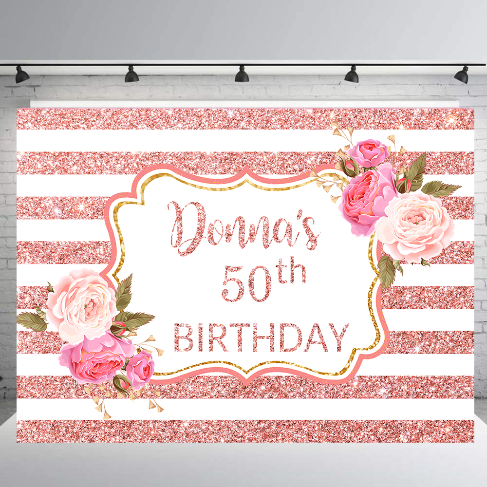 BEIPOTO Women lady's 50th <font><b>40th</b></font> adult <font><b>birthday</b></font> party <font><b>backdrop</b></font> Pink gold Glitter stripes flower decoration photo background B-432 image