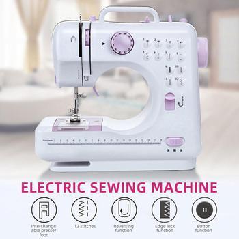 Mini Sewing Machine Single Needle Purple White Electric Automatic Home Useful Electric Sewing Machine Hand-Held Sewing Machine