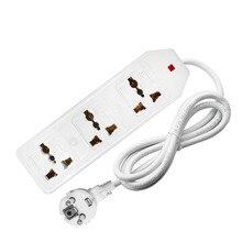 цена на Power Strip  EU/AU/US/UK Plug 3AC Universal Way AC Outlets Adapter Socket with indicator 0.5/1.5/3/5/10M Extension Cord Socket