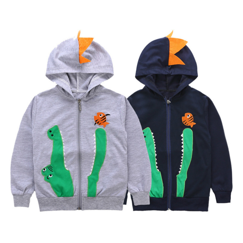 PluSign Spring Autumn Little Kids Hoodie Long Sleeve Zipper Cardigan Boy's Cartoon Crocodile Embroidery Jacket Casual Wear