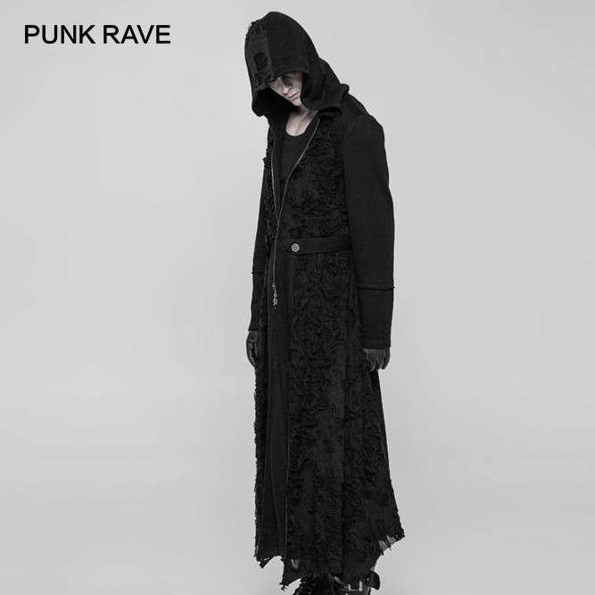 PUNK RAVE Men Gothic Velveteen Black Long Coats Halloween Vampire Cosplay Costume Punk Personality Hooded Men Trench Coat