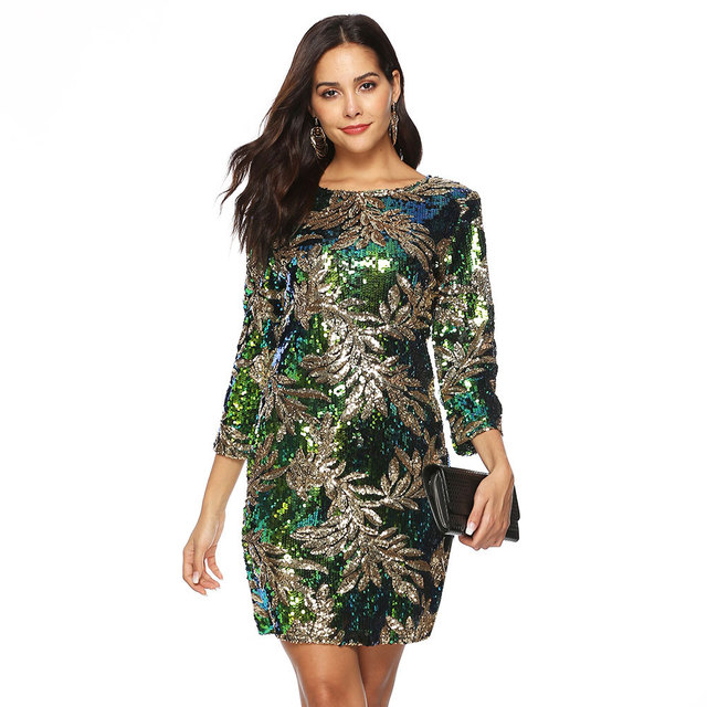 Fashion Round Neck Print Dress  Beach Sexy Short Dresses Long Sleeve Bodycon Office Dress European And American Party Dress 5