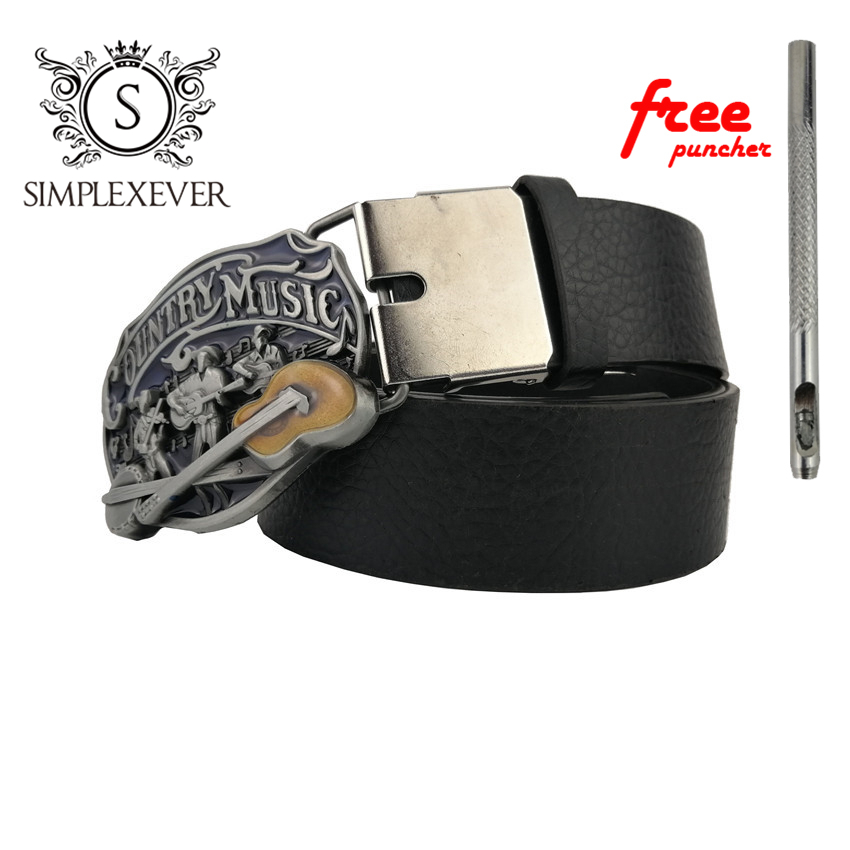 Fashion Silver Belt Buckle Country Music Rock Band Punk Music Style Men's Metal Belt Buckle With Belt