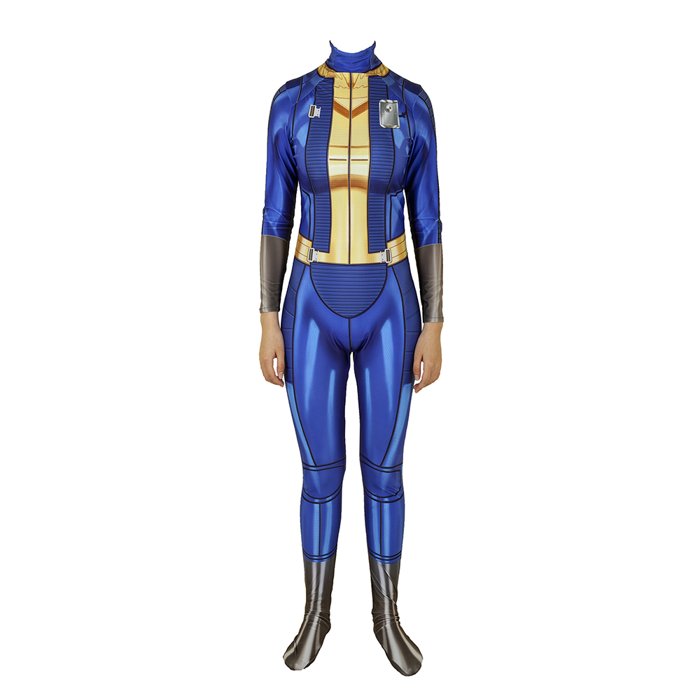 Game Fallout 4 Vault Suit Cosplay Costume Zentai Bodysuit Suit Jumpsuits Halloween For Women Girls
