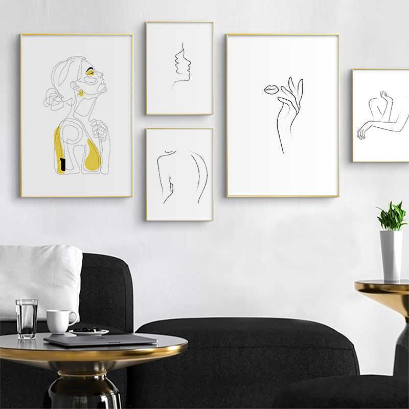 추상 여성 라인 드로잉 북유럽 포스터 & 인쇄 현대 캔버스 회화 벽 아트 노란색 소녀 벽 그림 침실 홈 장식