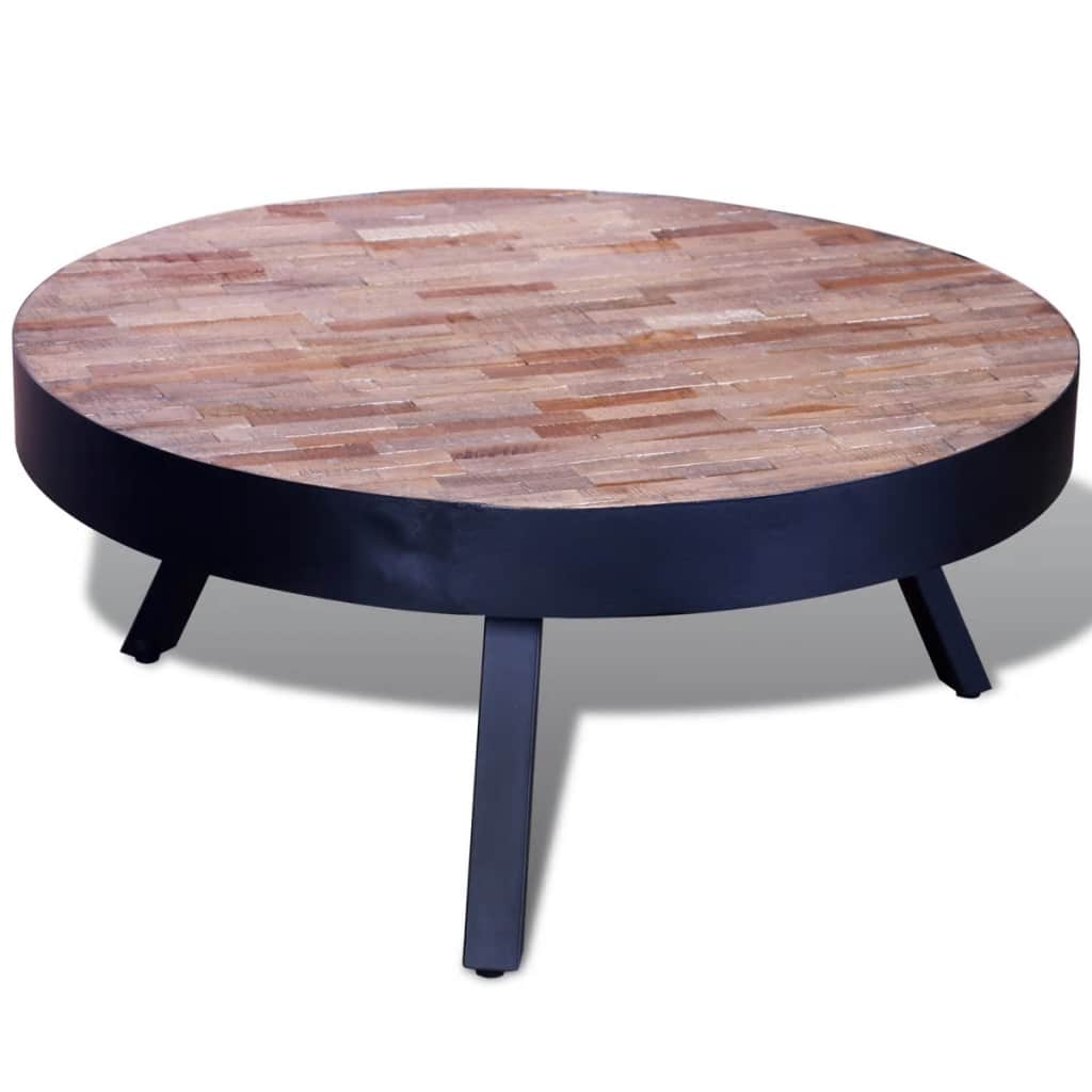 VidaXL Coffee Table Round Reclaimed Teak Wood