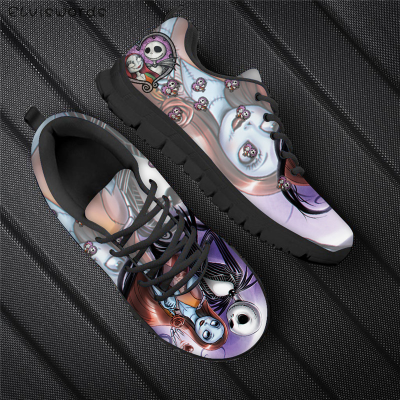 ELVISWORDS The Nightmare Before Christmas Print Women Sneakers Fashion Ladies Outdoor Breathable Flats Woman Office Walking Shoe