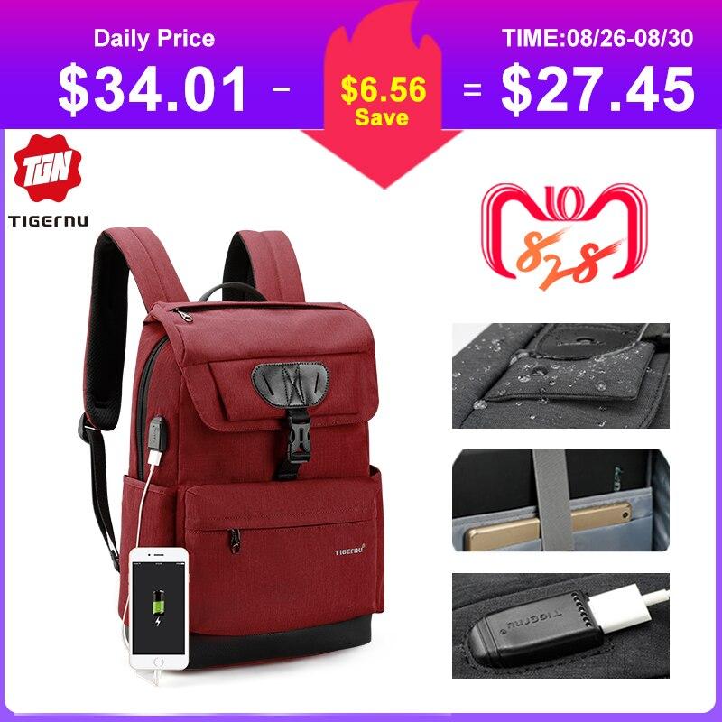 Tigernu sac à dos multifonction femmes mode jeunesse femme USB 15.6 sac à dos pour ordinateur portable cartables pour adolescente filles Mochila