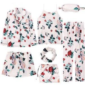 Image 5 - 7 Pieces Womens Silk Satin Pajamas Sets Pyjamas Set Sleepwear Pijama Pajamas Suit Female Sleep Two Piece Set Loungewear
