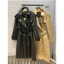 double breasted belted classic trench coat khaki and black color rock metal butt